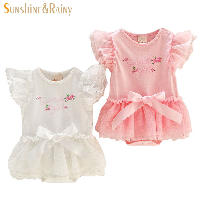 Summer Baby Girls Rompers Rose Flower Infant Jumpsuit Toddler Girl Clothing Princess Lace Tutu Dresses Newborn Bebes Clothes cotton baby rompers infant toddler jumpsuit lace collar short sleeve baby girl clothing newborn bebe overall clothes h3