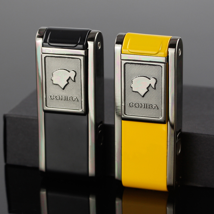 COHIBA 2 Frie Flame Jet Torch Cigar Lighter Gas Lighters Refillable Windproof Butane With Cigar Punch Gift Box