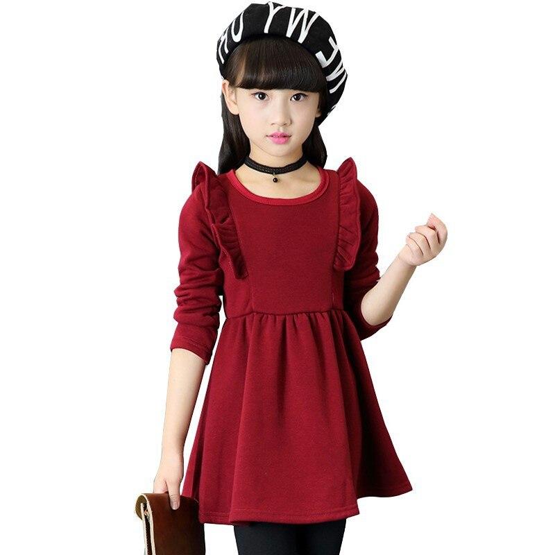Зимнее платье для девочек; плотные бархатные платья принцессы с длинными рукавами для маленьких девочек; От 2 до 12 лет; Детские теплые вечерние платья для девочек; детская одежда