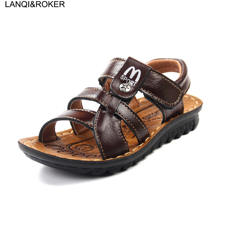 2017 New Hot Children Sandals Fashion Kids Boys Beach Sandals Summer Kids Antislip Soft Leather Sandals Size 26-41