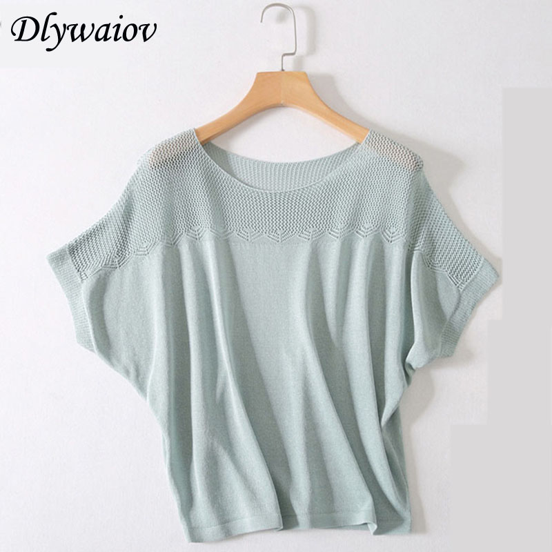 Summer Women Short Sleeve Knitted Pullover T Shirt New Loose Tshirts Mesh Breathable Bat Sleeve Black White Female Tops Spring