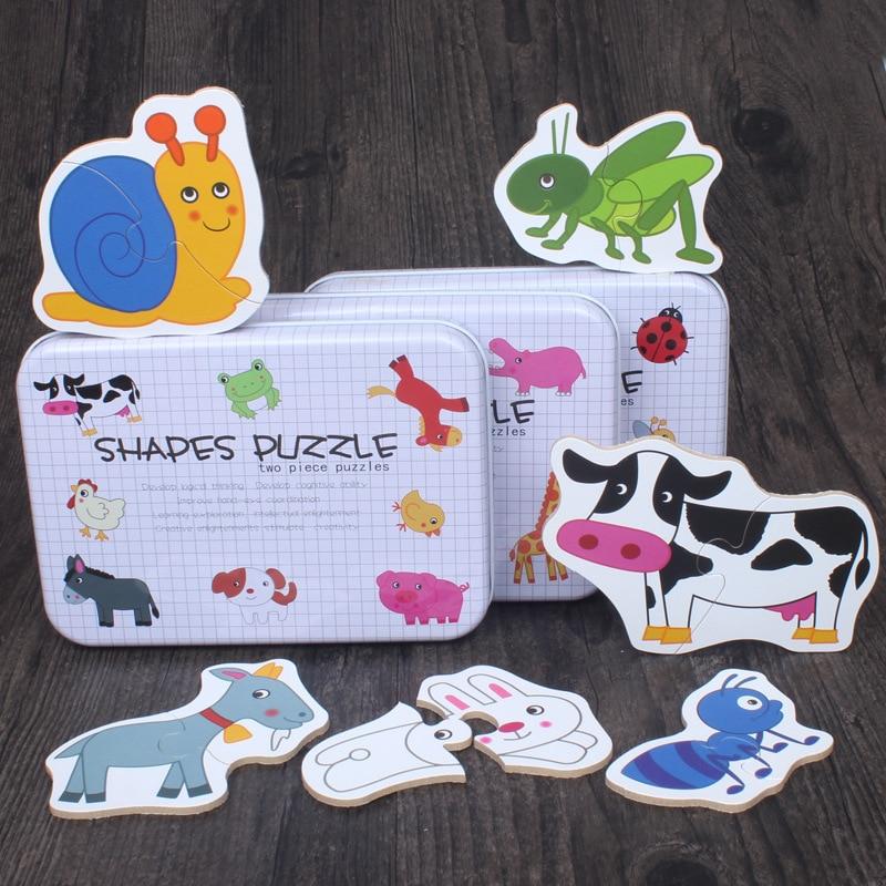 Деревянная головоломка для детей Игрушки для маленьких детей раннего образования головоломки познавательные животных головоломка насеко...