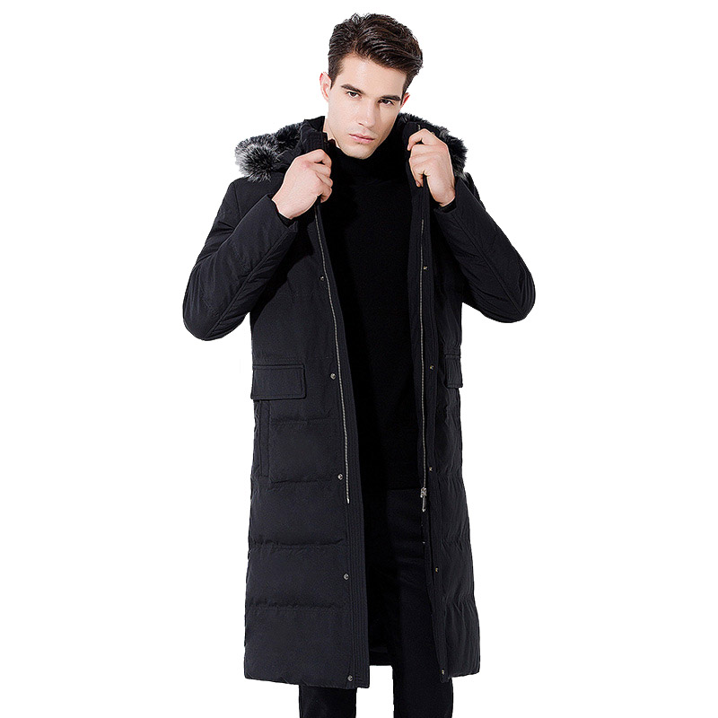 2019 new Winter jacket Men's Long over the knee Hooded Fox fur Collar coat Warm Hooded Park jacket Detachable Collar Cold Coat