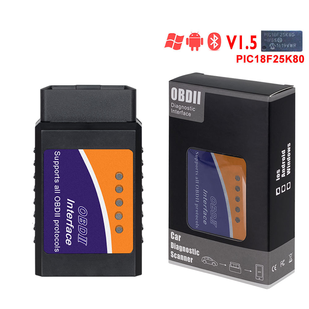 HTB13S DaovrK1RjSspcq6zzSXXaG ELM327 Wifi Bluetooth V1.5 PIC18F25K80 Chip OBD2 Code Reader ELM 327 V1.5 OBDII Diagnostic Tool for Android/IOS/PC auto scanner