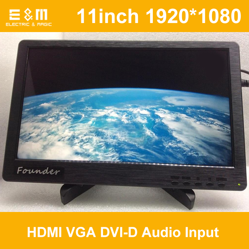 E&M 11 Inch 1920*1080 Screen With Speaker Base IPS LCD Monitor Display HDMI VGA DVI Game Xbox PS4 Raspberry Pi 3 1080p