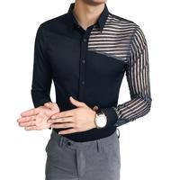 Idopy Men Shirt Autumn New Luxury See Through Shirts Korean Dress Men Long Sleeve Slim Fit Night Club Dance Casual Shirts
