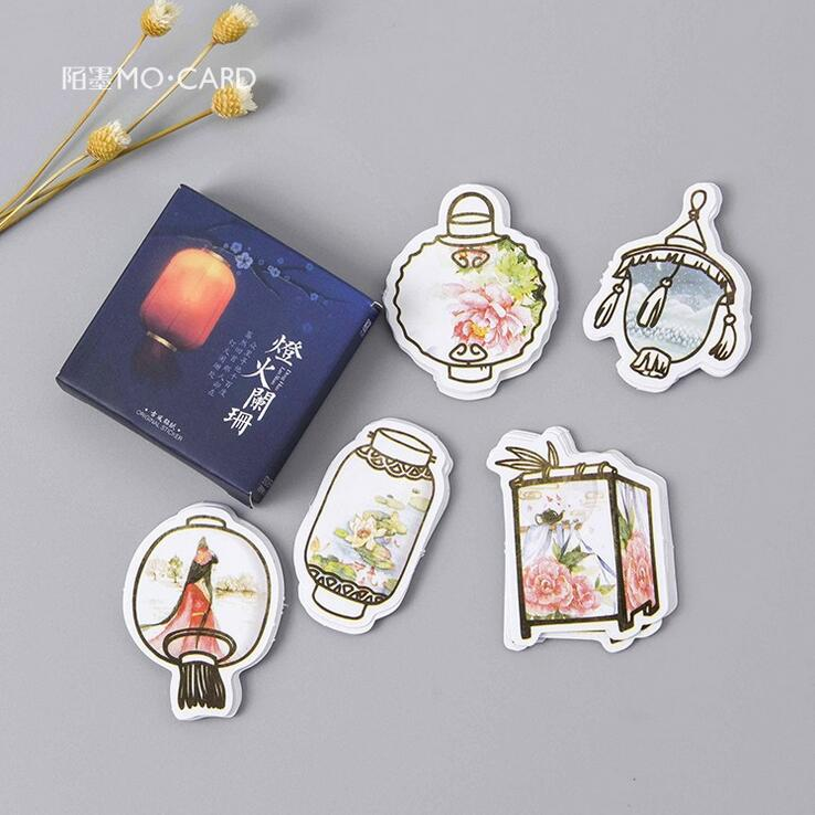 45 pcs/pack Classical Lantern Light Label Stickers Set Decorative Stationery Stickers Scrapbooking DIY Diary Album Stick Lable spring and fall leaves shape pvc environmental stickers decorative diy scrapbooking keyboard personal diary stationery stickers