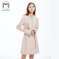 Margin 2017 New Autumn Winter Dress Women Long Sleeve Straight Dress Office Lady Solid Casual Knee