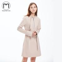 Margin 2017 New Autumn Winter Dress Women Long Sleeve Straight Dress Office Lady Solid Casual Knee