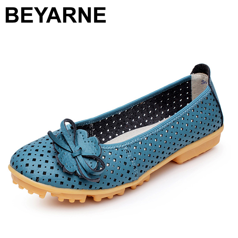 BEYARNE New High Quality Women genuine Leather Flats Shoes Cut Outs Ballet Women Flats Comfort Shoes Woman 4 Colors Moccasins 2017 summer new women fashion leather nurse teacher flats moccasins comfortable woman shoes cut outs leisure flat woman casual s