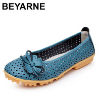 New 2015 High Quality Women Genuine Leather Flats Shoes Cut Outs Ballet Women Flats Comfort Shoes