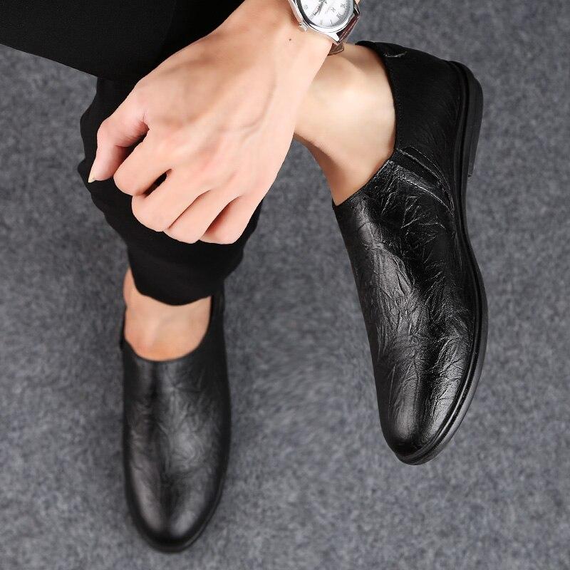 Couro De Livre Genuíno Homens Moda Apartamentos Primavera 4 Outono Crocodilo Mocassins Sapatos Marca Black brown Ar Ao Respirável Dos Textura XFqwYgX