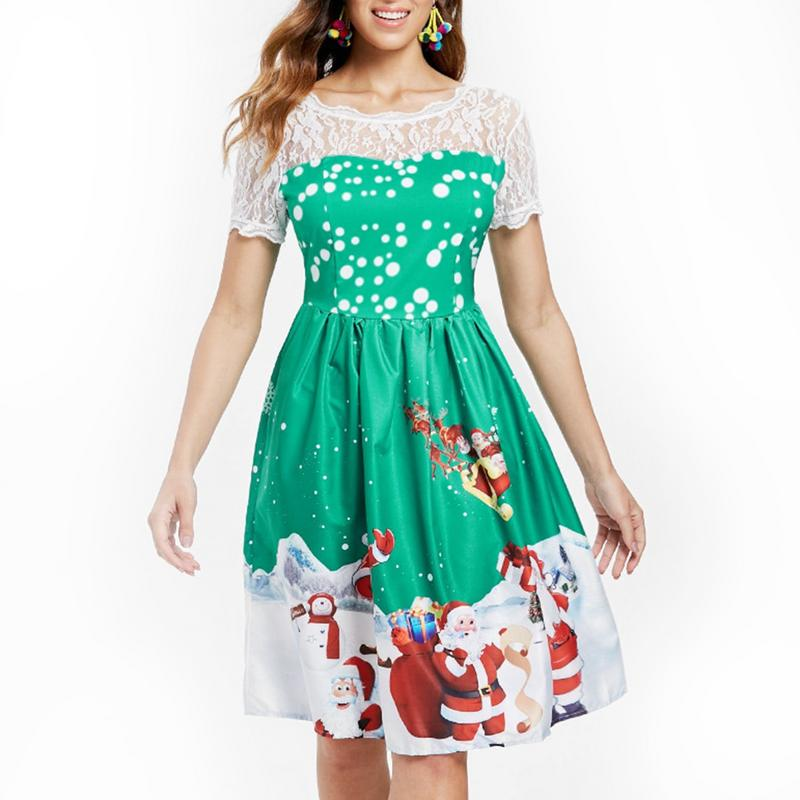 Christmas Plus Size Print Mesh Insert Dress Lace Short Sleeve Dress Big Flare Vintage Dress