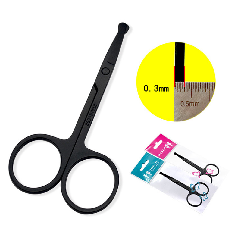 Black Makeup Scissors Eyebrow Scissors Safe Round Tip Nose Hair Trimmer Stainless Steel Cosmetic Beauty Scissors for Women Men