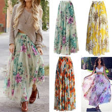 Summer skirt high waist Chiffon Print Bohemian Ankle-Length Womens Floral Jersey Gypsy Long Maxi Full Skirt Beach Sun(China)
