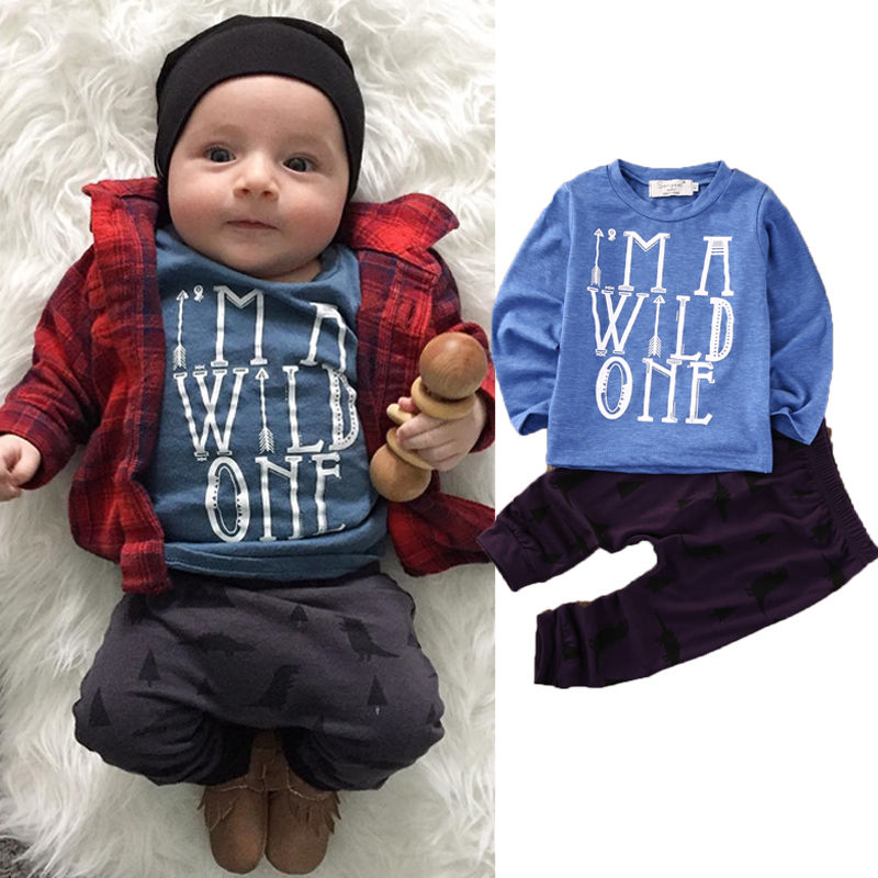 2PCS Newborn Baby Boy Girl Clothes Casual Long Sleeve Wild T-shirt Tops Pant Outfit Bebek Giyim Clothing Set 0-24M