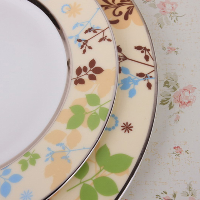 European Style Luxury Dinner Plates Bone China Dinnerware Set High Quality Ceramic 8″ / 11″ Inch Plate