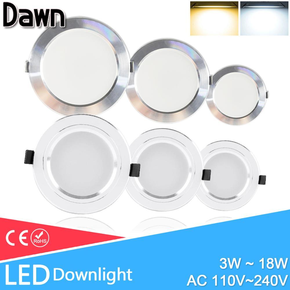 LED Downlight 3W 5W 9W 15W 18W argent blanc Ultra mince Downlight AC110V 220V 240V rond encastré LED Spot d'éclairage
