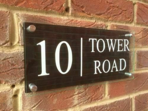 Personalised Classic House Sign Door Number Street Address Plaque Modern Glass in Door Plates from Home Improvement