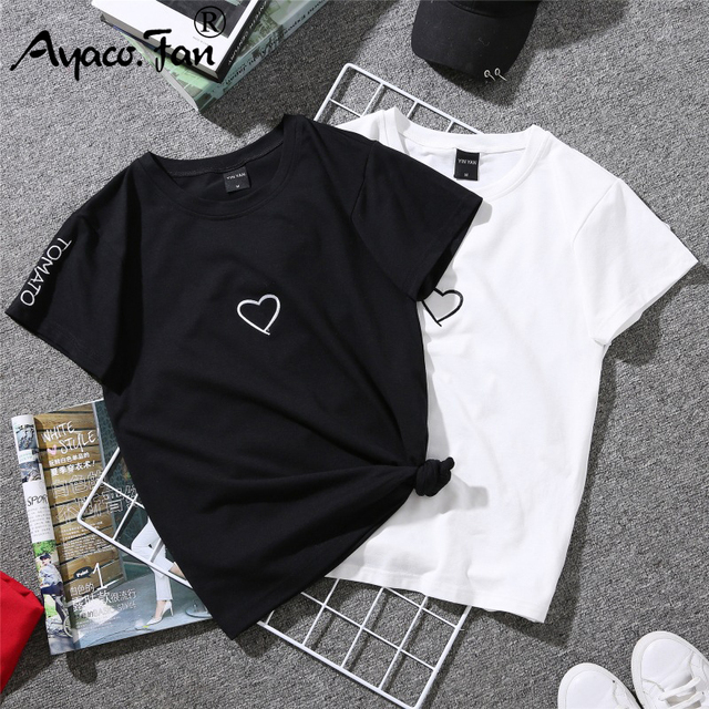 2019 Summer Couples Lovers T-Shirt for Lady Student Casual White Tops Women T Shirt Love Heart Embroidery Print Tshirt Female 2