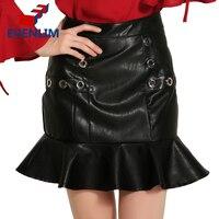 EVENLIM Female Slim High Waist Lotus Leaf Skirts PU Leather Black Fashion Trumpet Mermaid Pattern Women