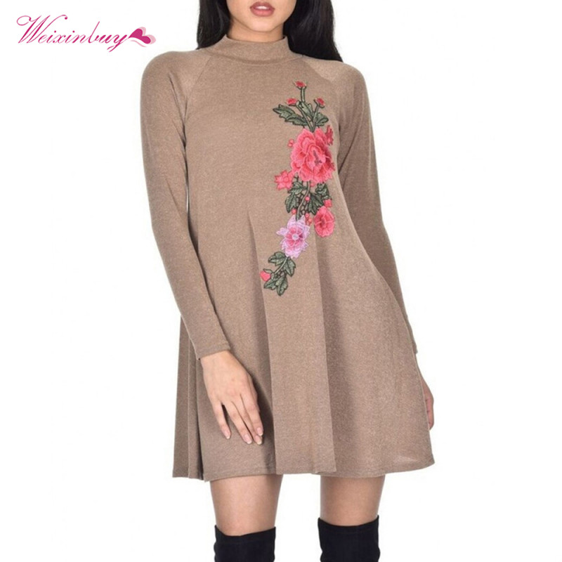Woman Dress Prairie Chic Floral Embroidery Dresses For Spring Autumn Turtleneck Full Sleeve Mini Dress Hit Sale