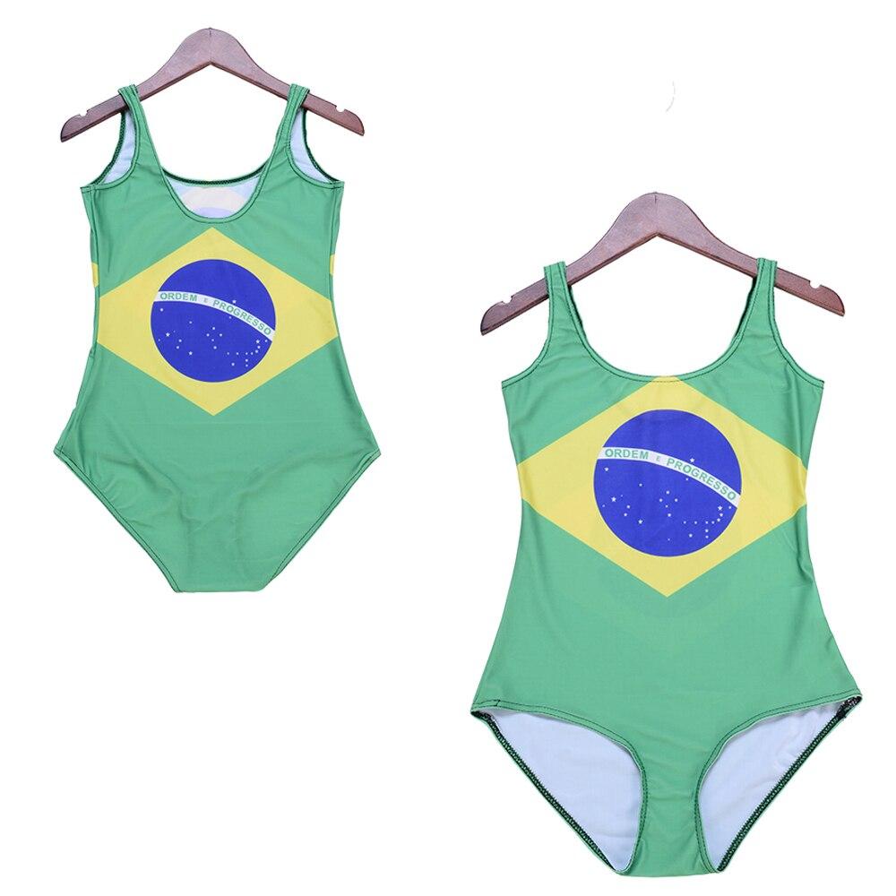 Green Brazilian Flag Female Costume Bathing Suit