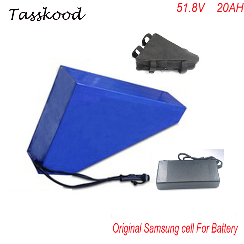triangle Samsung lithium battery 51 8V 20Ah electric bike battery 52V 1000W 20ah electric scooter