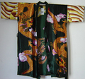 Hot Sale Green Women's sleepwear Bath silk robe Sexy Lingerie Striped Dragon Sleepwear Kimono Satin Robes Bathrobe