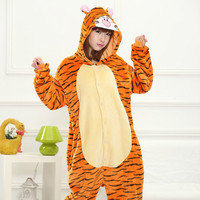 Wholesale Panda Stitch Unicorn Unisex Flannel Hoodie Pajamas Sets Costume Cosplay Animal Onesies Sleepwear For Adults