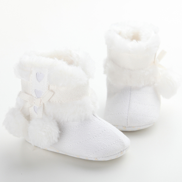 009600481b35 Newborn Baby Girl Bowknot Fleece Snow Boots Booties Furry Soft Sole Warm  Kids Princess White Winter Shoes chaussures fille 0-18M