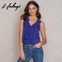 2017 Summer New Women S Fashion Simple Sexy V Collar Asymmetrical Lotus Leaf Solid Color Sleeveless