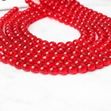 LIngXiang natural Jewelry 4/6/8/10/12mm red glass loose Beads DIY Men and women bracelet necklace ear stud accessories make