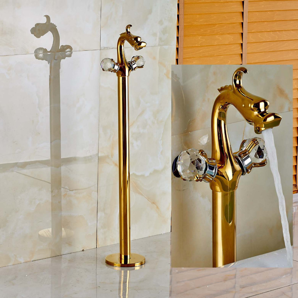 Dragon Type Dual Crystal Handles Bathtub Faucet Golden Mixer Tap Floor Mount Tap ...