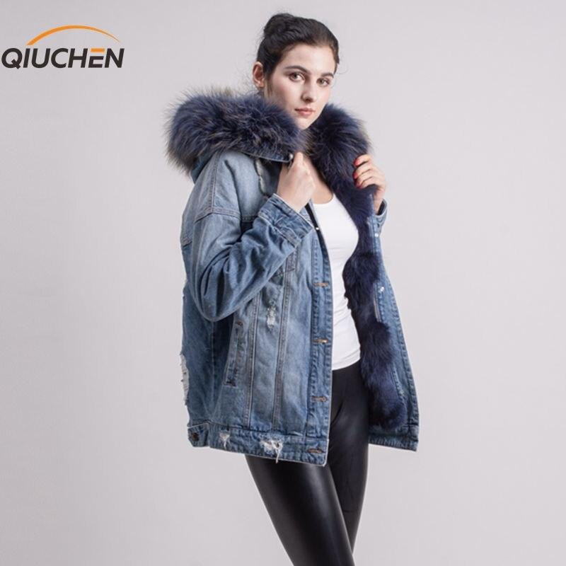 QIUCHEN PJ5053 réel renard doublé de fourrure veste en jean jeans manteau avec réel raton laveur col de fourrure pour l'hiver de fourrure parka
