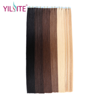 Yilite 100% European Natural Straight 20 Non Remy Hair Extension, Medium Brown Color Tape In Human Hair Extensions #6 20pcs