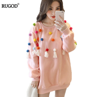 RUGOD Hoodie Sweatshirt Oversized O Neck Long Sleeve Chrismas Hoodie Women Looe Thick Polka Dot Hoodies