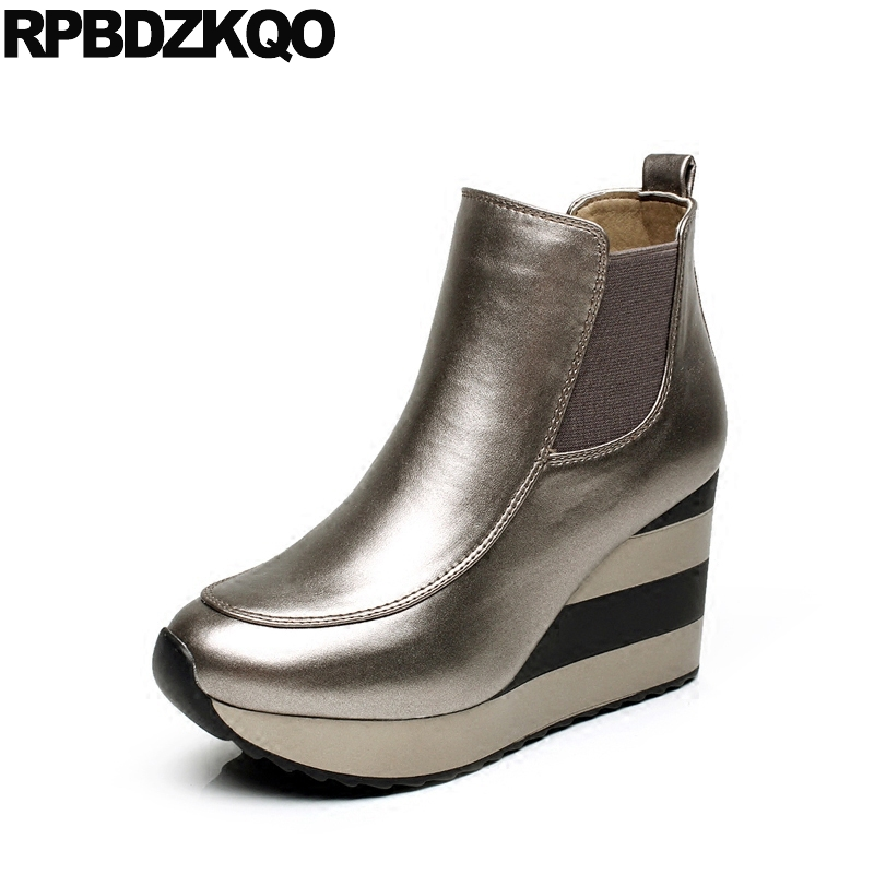 Slip On Casual High Heel Women Boots Winter 2017 Pointed Toe Fall Silver Ankle Short Wedge Booties Sexy Shoes Chinese Fashion women ankle boots medium heel genuine leather booties vintage thick suede round toe chunky shoes slip on platform brown fall