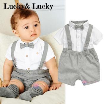 mini gentleman baby clothing set baby boy short sleeve t-shirt with bow + overalls newborn clothes conjuntos casuales para niñas