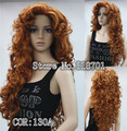 New Fashion Hair Women's Cosplay Party Wigs Light Auburn Long Curly Bangs Full Wig free shipping
