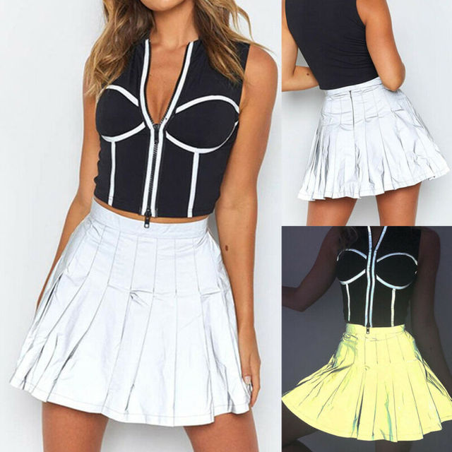nouveaux styles 90d6d 403fd Vente Femmes fille réfléchissant jupe plissée taille haute ...