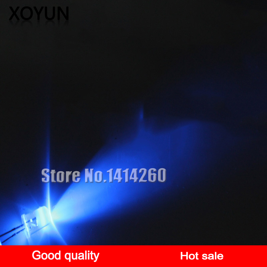 100pcs/lot Long Foot 3MM White Hair Blue Led3mm Super Bright White Hair Blue Led