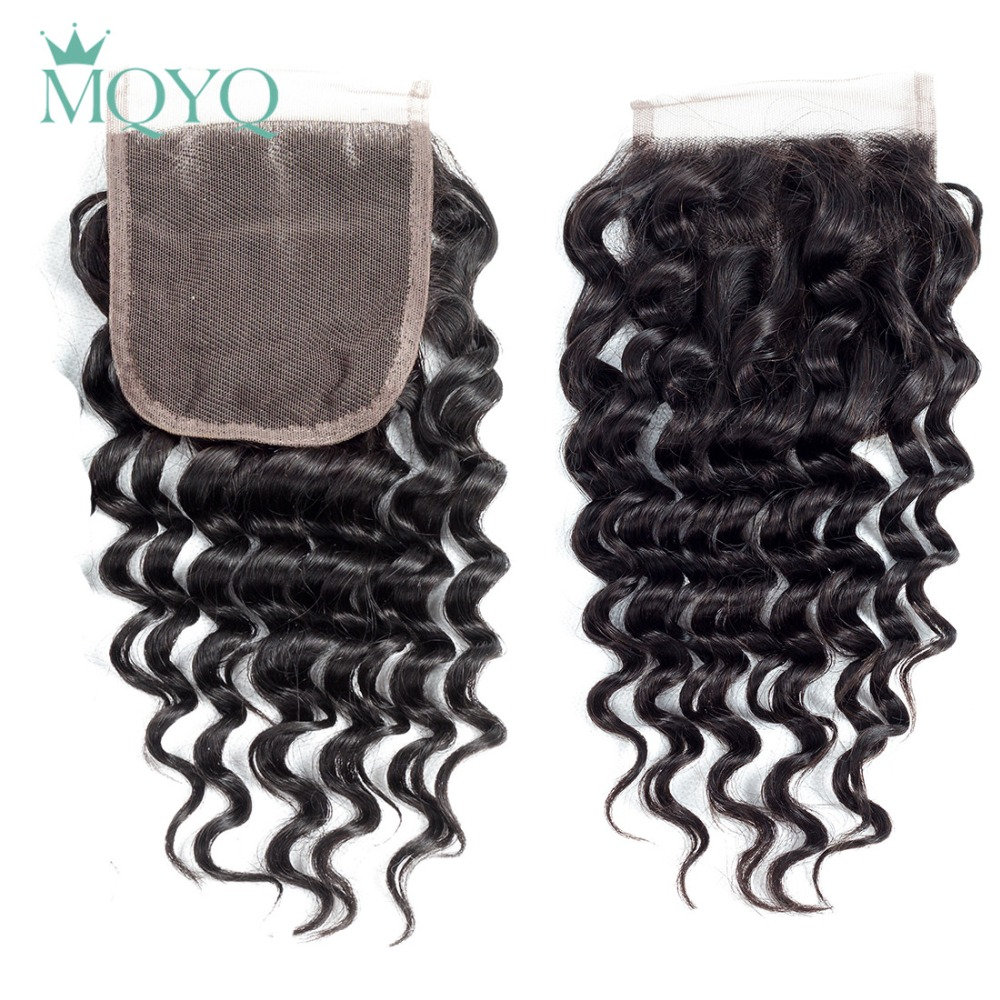 MQYQ Brazilian Deep Wave Hair Lace Closure Free Middle Three Part 100% Human Hair 4x4 inch Swiss Lace Top Closure Deep Curly