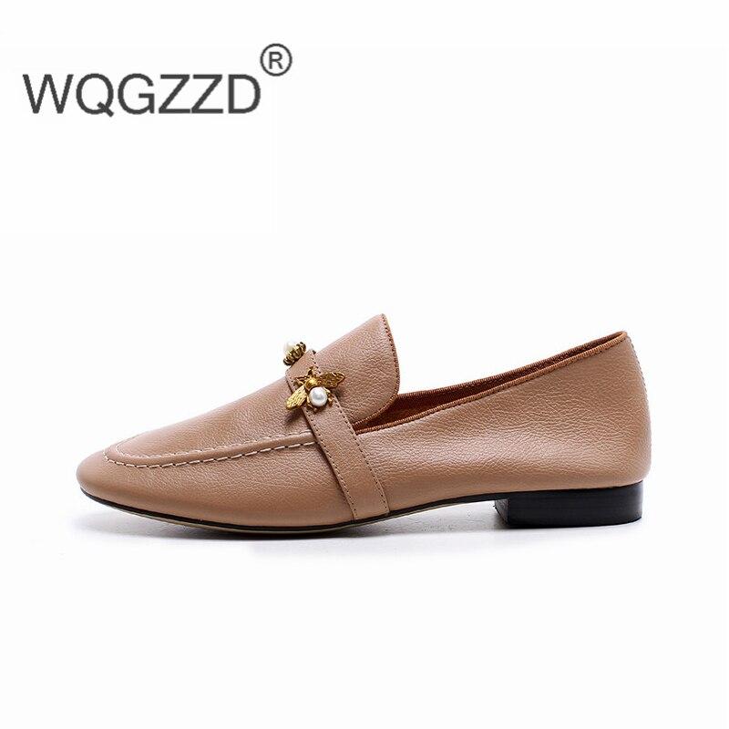 Lujo 2019 Genuino Chaussures De Planos Mujeres Marca La Black apricot Las Femme Cuero Suave Señoras Mujer Mocasines Zapatos Cómodo wptfqpxSr