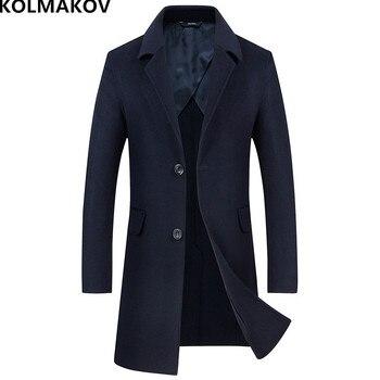 KOLMAKOV 2018 Brand mens winter coat wool coats jackets long double-faced Men's woolen coat slim fit cashmere overcoat man M-XXL
