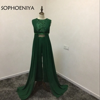 New Arrival Green Chiffon two piece Evening gowns 2018 Saudi Arabic Evening dress Kaftan trousers Party dresses Evening party