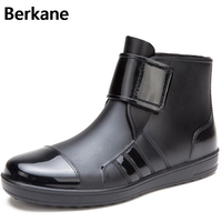 Men Pvc Rain Boots Ankle Waterproof Skin Fashion Rubber Short Rainboots Black Casual Anti Slip Breathable