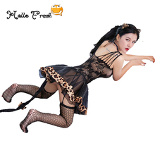 Free Size Cat Sexy Costumes Sexy Cosplay Set Babydoll Mini Short Sexy Dress Erotic Maid Wetlook Underwear Nightwear Sexy Costume women s fashionable sexy cat style cosplay sleep dress set black