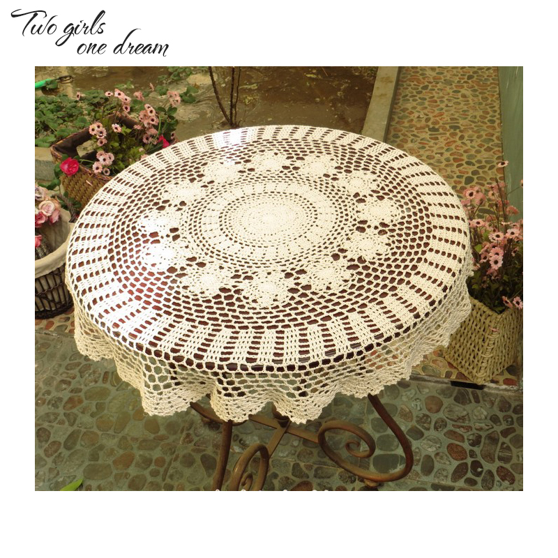DIY Handmade Crochet Lace Tablecloth Country Round Tea Table Mats Wedding  Party Decorative Table Cover Placmat