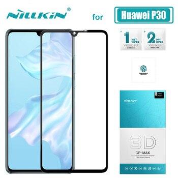 Protector de pantalla de vidrio templado 9 H Anti-arañazos para Huawei P30 Glass Nillkin 3D CP + Max vidrio protector Huawei P30